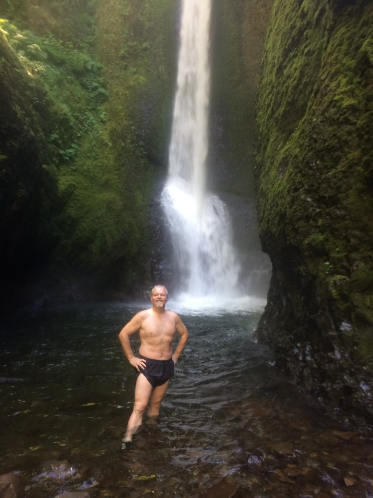 browse posing in front of Oneonta Falls